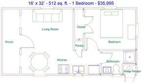 Derksen 16 X 32 512 Sq Ft 1 Bedroom Factory Finished Cabin Cabin Floor Plans Tiny House Floor Plans 16x32 Floor Plans