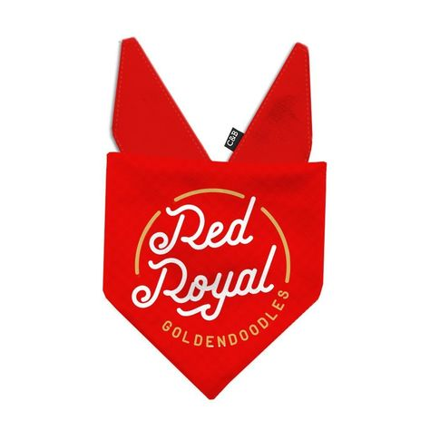 """Item Details: The RRG bandana was created in partnership with our friends at @redroyalgoldendoodles! This bandana features a white and gold vinyl print on a bright red cotton fabric. Name is printed on reverse side (if selected) Double sided tie-on bandana. 100% Cotton Bandana Size Guide: (Breed examples are approximate and really depend on the amount of fluff! If you are unsure, please feel free to ask.) X-Small (6""""-9.5"""")Teacup Breeds, Chihuahua, Yorkie Small (10""""-13"""")Maltese, Jack Russell, Dac"""
