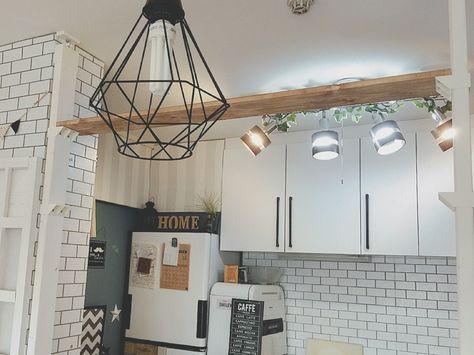 キッチンカウンターをカフェ風に ラブリコを使って棚を作りました