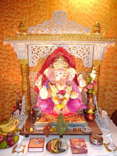 Home Ganpati Decoration Pinterest