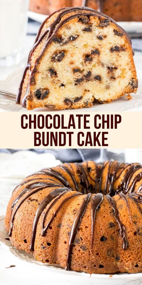 Moist buttery chocolate chip bundt cake has a delicious vanilla flavor tons of chocolate chips and is drizzled with chocolate ganache. The perfect combo of chocolate and vanilla in this delicious pound cake! from Just So Tasty Dessert Simple, Bon Dessert, Dessert Cake Recipes, Pound Cake Recipes, Easy Cake Recipes, Baking Recipes, Vanilla Bundt Cake Recipes, Delicious Recipes, Kitchen Recipes
