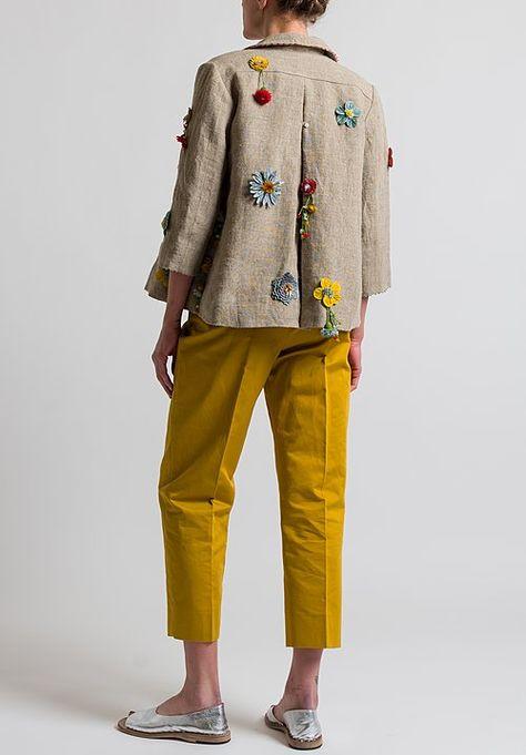 Péro Flower Embellished Jacket in Natural