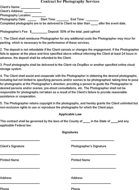 Photography Session Contract Pdf Free Download  Photography