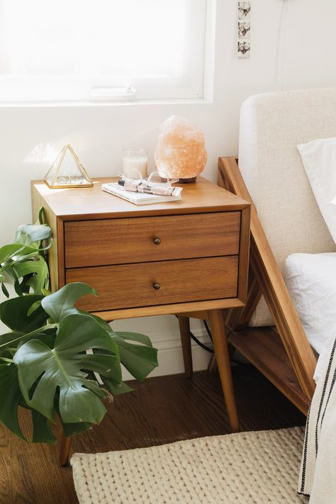west elm - Bohemian Style Bedroom Makeover with Molly Madfis of Almost Makes Perfect - Simple, sophisticated storage. Inspired by mid-century design, the Mid-Century Bedside Table borrows its slim legs, angled face and understated retro details from iconic '50s and '60s furniture silhouettes. An antique bronze-finished knob on the drawer provides an unexpectedly luxe twist to the clean-lined silhouette.