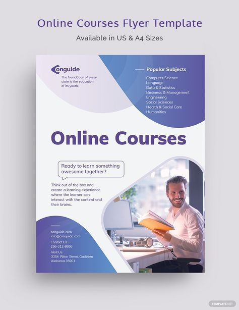Online Courses Flyer Template [Free PDF] - Word | PSD | InDesign | Apple Pages | Illustrator | Publisher