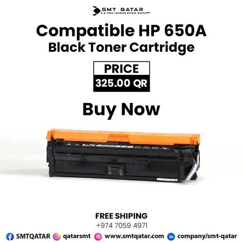 Compatible HP 650A Black Toner Cartridge with free shipping all over Qatar.
