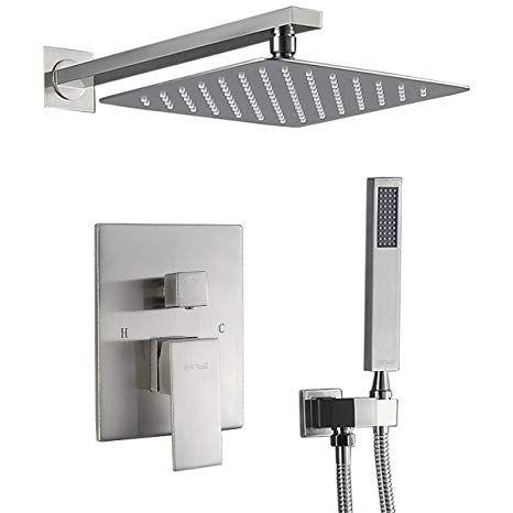 Luxury Brushed Nickel Exposed Rain Shower Faucet Set Bathtub