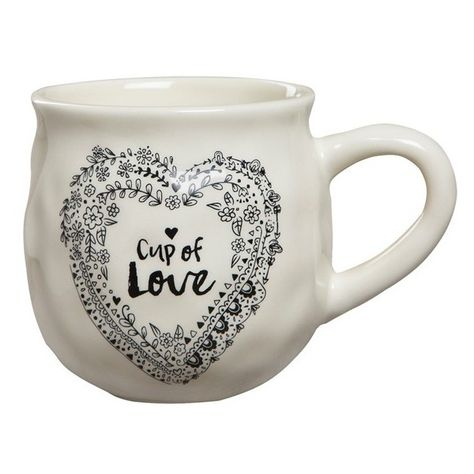 Natural Life 'Happy Mug - Cup of Love' Ceramic Mug (€16) ❤ liked on Polyvore featuring home, kitchen & dining, drinkware, ivory, tea mug, ceramic mugs, oz cup, oversized mugs and tea cups