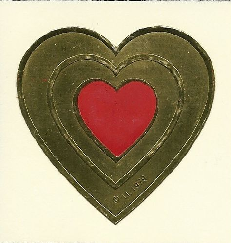 Vintage 80's Illuminations Embossed Foil Heart Sticker. $2.75, via Etsy.