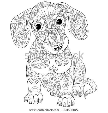 Coloring Page Of Dachshund Puppy Dog Symbol Of 2018 Chinese New