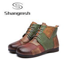Shangmsh Jakosci Prawdziwej Skory Buty 2017 Wiosna Jesien Moda Kostka Inicjuje Kobieta Buty Miekkie Dorywczo Plask Boots Leather Ankle Boots Womens Boots Ankle