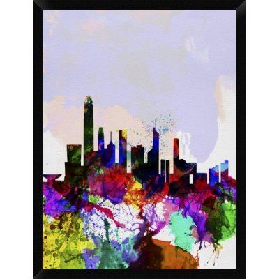 Naxart hong kong watercolor skyline framed graphic art print on canvas size 42