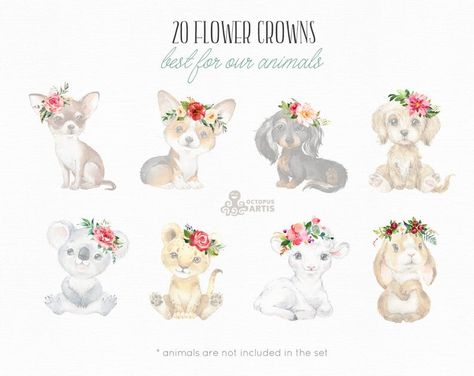 Flower Crowns. Watercolor floral clipart, bouquets, flowers, add-on, kids nursery, wreath, blossom,