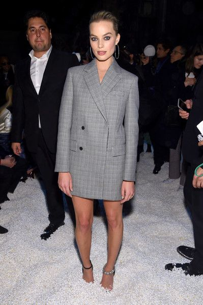 Actor Margot Robie attends the Calvin Klein Collection front row during New York Fashion Week.
