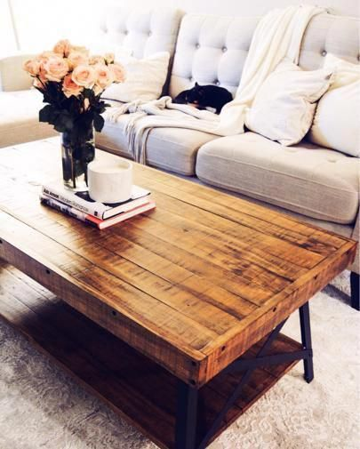 Neutral Home Interior Reclaimed Wood Coffee Table Living Room