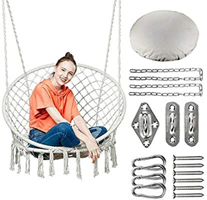 Amazon Com Greenstell Hammock Chair Macrame Swing With Hanging Kits Hanging Cotton Rope Swing Chair Comfortabl In 2020 Rope Chair Swing Swinging Chair Hanging Chair