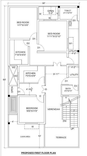 House Plan For 30 X 60 1800 Sq Ft Housewala 2bhk House Plan House Plans 20x40 House Plans