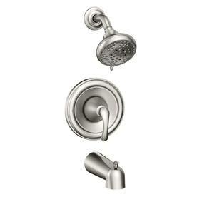 Moen Tiffin Spot Resist Brushed Nickel 1 Handle Bathtub And Shower