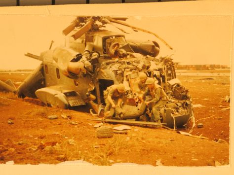 What's left of a CH-53 at the Siege of Khe Sanh. 22February68. We called the CH-53 the
