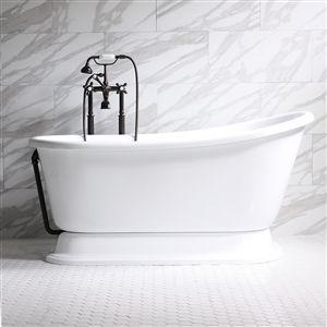 Carafa54 54 White Coreacryl Acrylic Swedish Slipper Pedestal Tub Package With Images Pedestal Tub Tub Free Standing Bath Tub