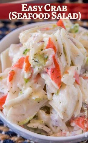 Just ten minutes for this Crab Salad Seafood Salad! de marisco Crab Salad (Seafood Salad) - Dinner, then Dessert Seafood Appetizers, Seafood Dinner, Dinner Salads, Seafood Platter, Crab Appetizer, Crab Meat Salad, Crab Pasta Salad, Seafood Pasta Salads, Seafood Macaroni Salad Recipe