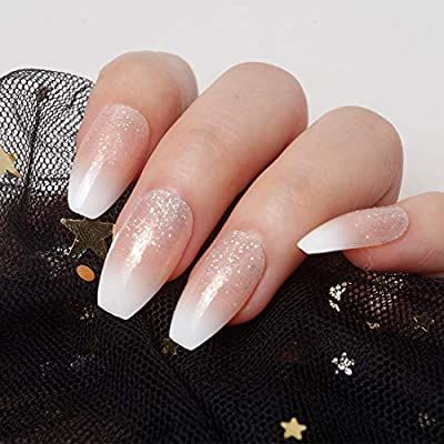 Amazon Com Siusio 240 Pcs Ombre French Coffin Nails Full Cover Uv Top Coat Covered Acrylic Nails In 2020 Glitter French Tips French Tip Acrylics Ombre Nails Glitter
