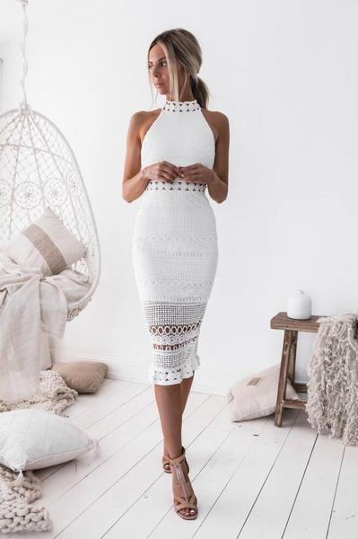 Virka Bodycon Midi klänning vit | Fruugo SE