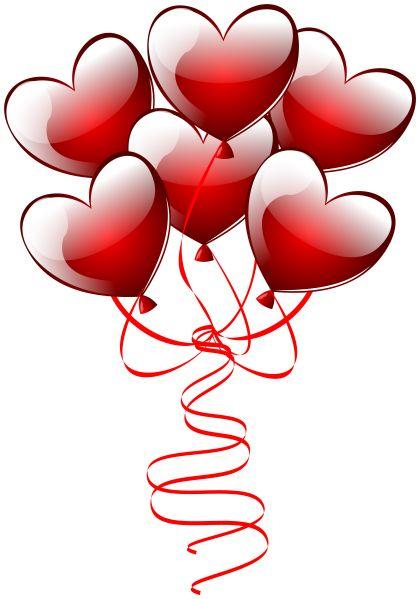 Bunch of Valentine Heart Balloons