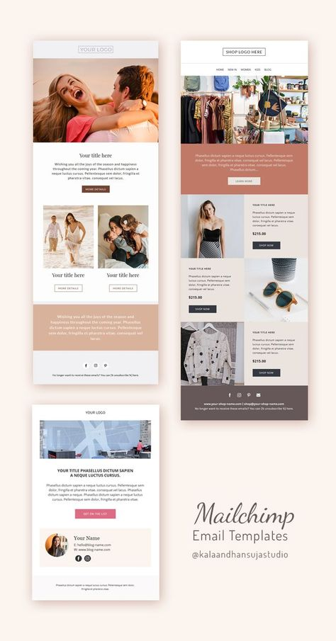 3 Email Newsletters Bundle, Welcome email template, Blogger email, Newsletter template. in 2020 | Ma