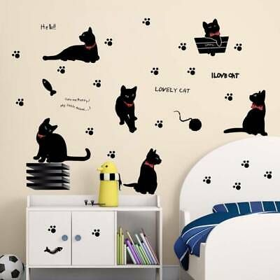 Lovely Black Cat Wall Sticker Removable Diy Decals For Living Room