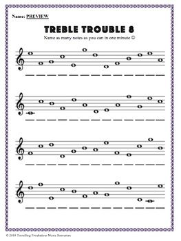 Music Minute Treble Trouble Treble Clef Lines Spaces Distance Learning Music Theory Worksheets Treble Clef Clef