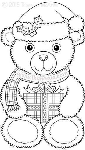 Color Christmas Coloring Book Teddy Bear With Images Christmas