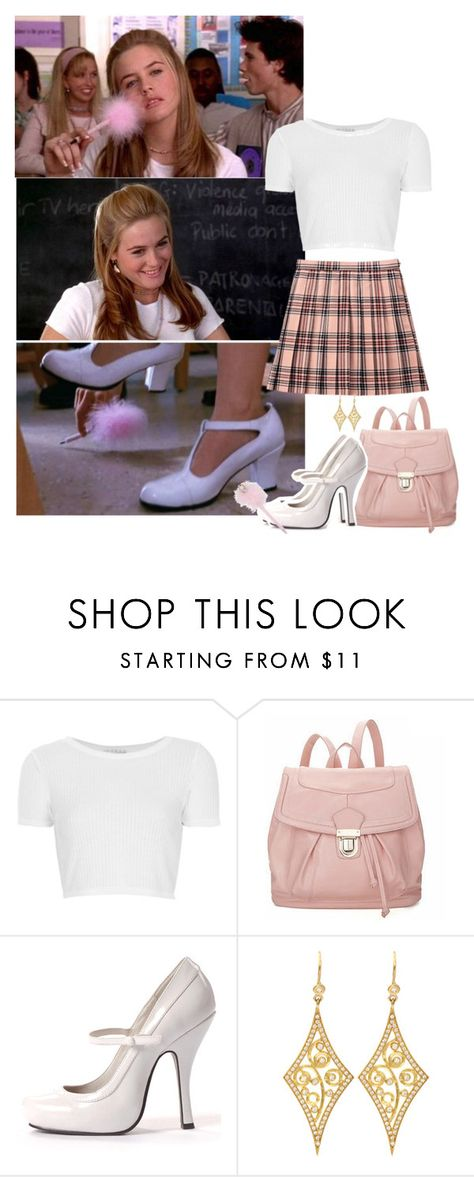 """""""Cher Horowitz"""" by priscilla12 ❤ liked on Polyvore featuring SilverStone, Topshop, 19th Street, Annie Fensterstock, movie, Cher and clueless"""