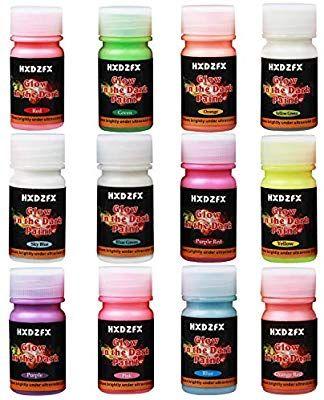 Safe Non-Tox HXDZFX Glow in The Dark Paint UV Paint Set of 12 Bottles 20g. Each