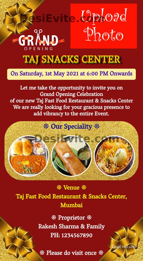 Fast Food Restaurant and Snacks Center Opening Invitation Card