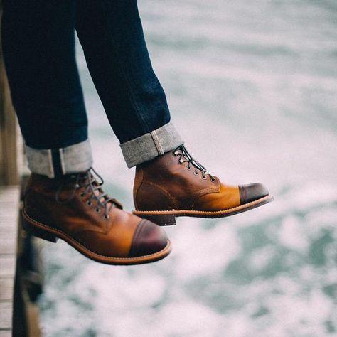 "CHIPPEWA BOOTS #1901M54 6"" TAN RENEGADE/CORDOVAN HOMESTEAD BOOT"