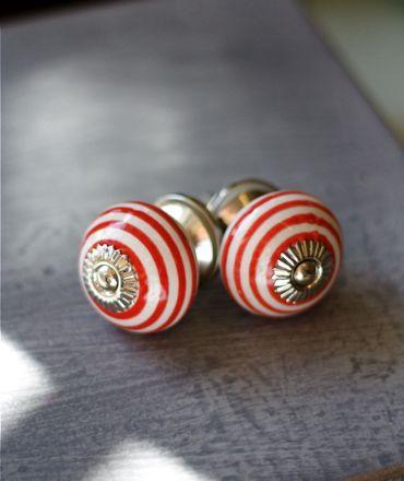 Red Striped Ceramic Door Knobs