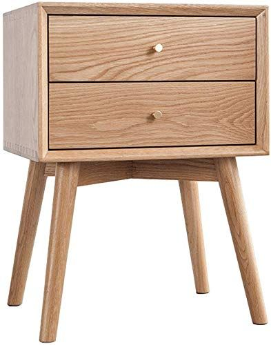 Amazing Offer On Derthwer Nightstand Oak Finish Side End Table Nighstand Two Drawer Bedroom Study Room Practical Versatile Color Natural Size 45x35x60 In 2020 Simple Bedside Tables Solid Wood