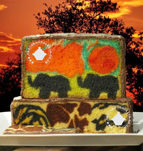 Inside Surprise Cakes All Based On My Unique Methods And Tutorials - Using my zebra, leopard, and giraffe tutorial, combined with the pictures inside cake tutorial, I created this safari type cake.