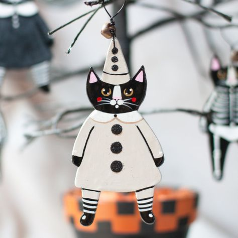 Clown Cat Halloween Original Clay Folk Art by KilkennycatArt   I can totally make these for my sweet holiday tree