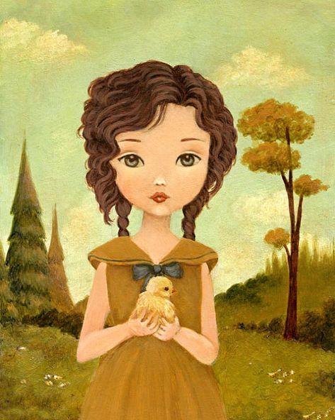 Little Peep Print 8x10 - Children's Art, Girl, Nursery Art, Forest, Mustard, Yellow, Teal, Baby Chicken, Cute, Kids Art, Spring, Room Art