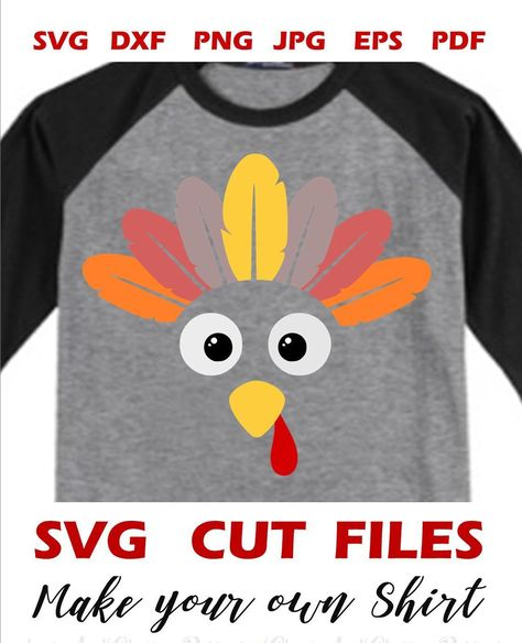 75056ab8 Excited to share this item from my #etsy shop: Funny #turkeyfaceSVG file  for Cricut Silhouette #IronOn, Thanksgiving SVG Turkey face with feathers  Svg, ...