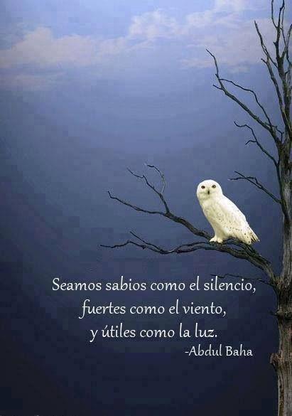 Seamos sabio as como el silencio, fuertes como el viento y útiles como la luz...: