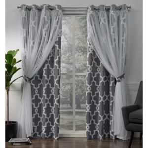 Elrene Bethany Sheer Overlay Blackout Window Curtain 23034gry The Home Depot Home Curtains Grommet Top Curtains Curtains