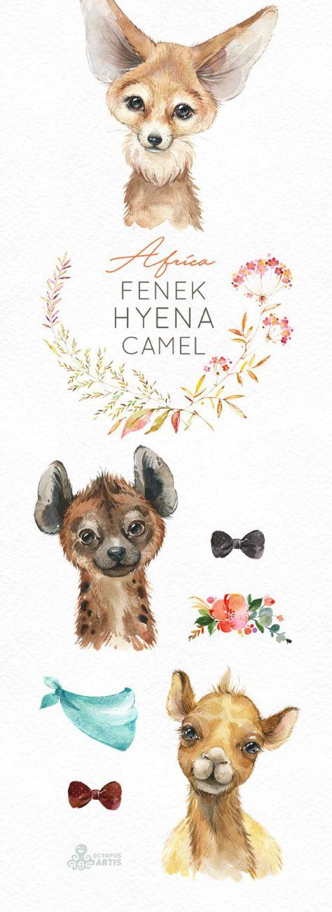 Africa Fenek Hyena Camel Watercolor little animals clipart safari savannah baby portrait wreath flow