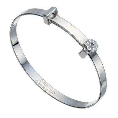 D For Diamond Children's Silver White Daisy Expander Bangle- H. Samuel the Jeweller