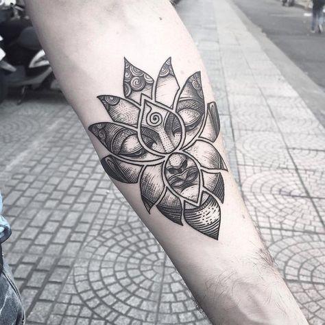 "SGI Tattoo-26TranHungDao Dis01 on Instagram: ""Buddha In The Lotus Shape Tattoo By Bon Bon #buddha #buddhaface #lotus #lotusshape #blackwork #linework #dotwork #saigonink #saigontattoo…"""