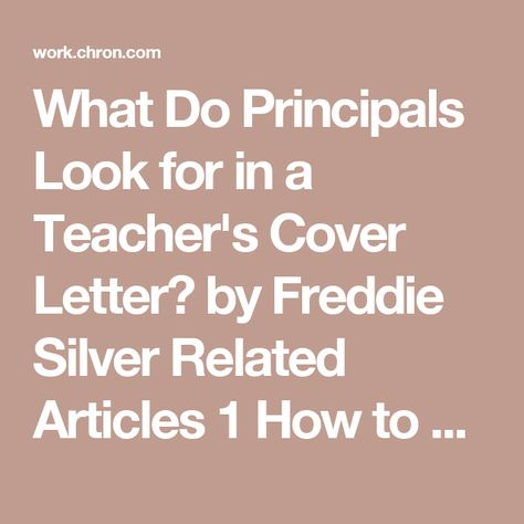 What Do Principals Look for in a Teacher's Cover Letter?