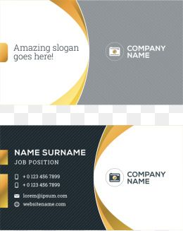 Vector Black And Yellow Business Card Curve With Images