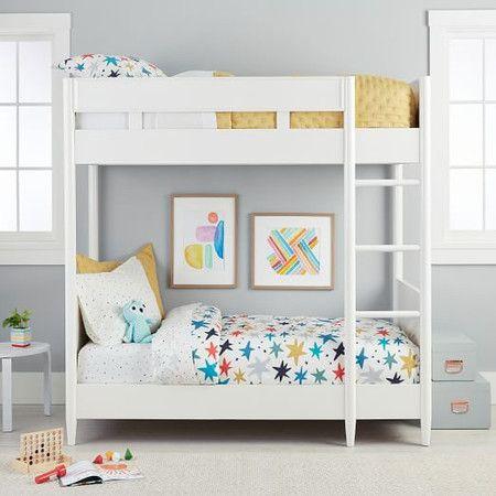 Mid Century Twin Bunk Bed White White Bunk Beds Twin Bunk Beds Bunk Beds